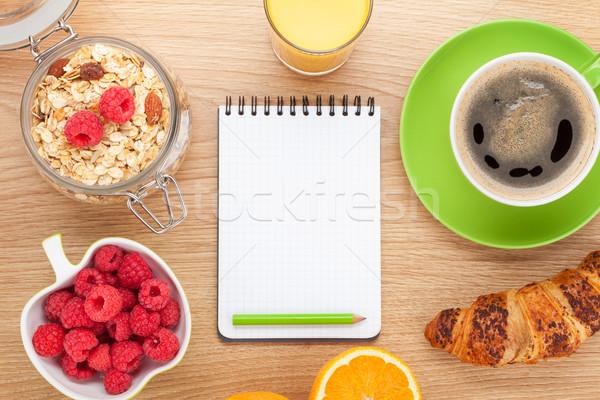 Sağlıklı kahvaltı müsli karpuzu meyve suyu ahşap masa Stok fotoğraf © karandaev