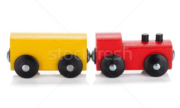 Brinquedo de madeira trem isolado branco bebê estrada Foto stock © karandaev