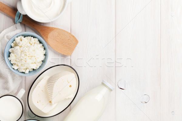 Zure room melk kaas yoghurt houten tafel Stockfoto © karandaev