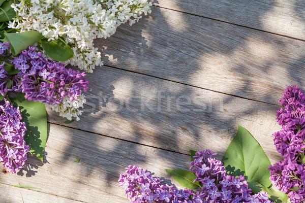 Colorido lila flores jardín mesa superior Foto stock © karandaev