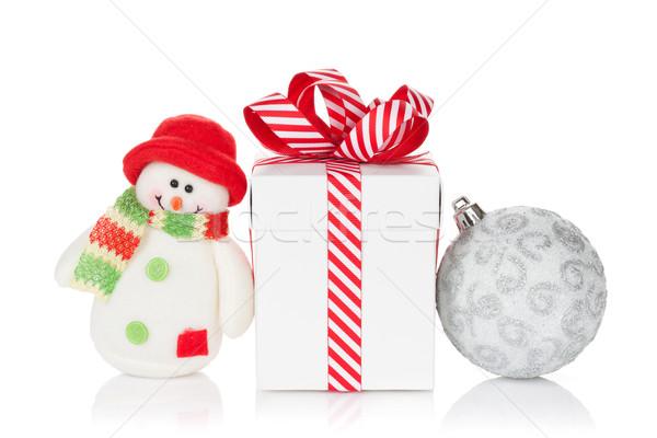 Natal caixa de presente bugiganga boneco de neve brinquedo isolado Foto stock © karandaev