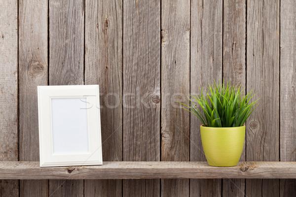 Photo frame impianto shelf legno muro texture Foto d'archivio © karandaev