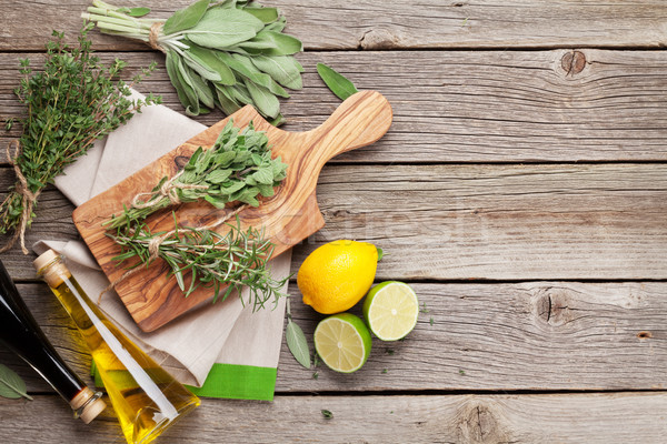 Fresh garden herbs and condiments Stock photo © karandaev