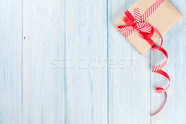 Noel hediye kutusu ahşap ahşap görmek bo Stok fotoğraf © karandaev