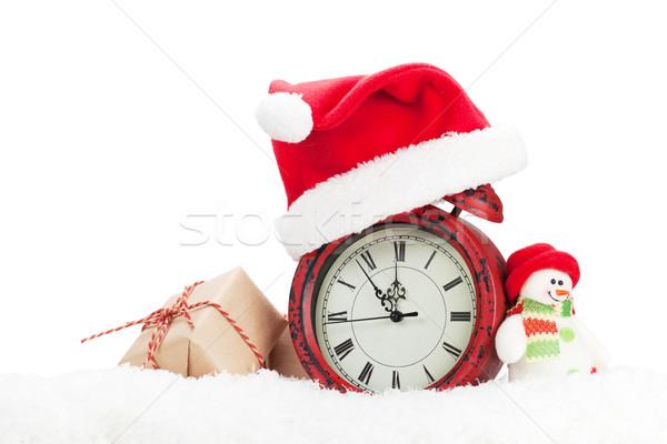 Natal caixa de presente boneco de neve despertador brinquedo neve Foto stock © karandaev