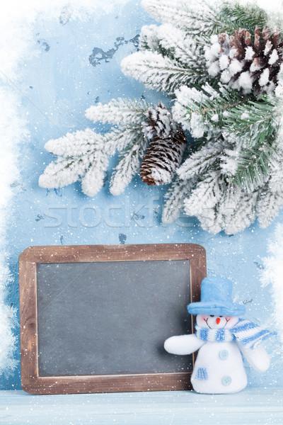 Noël tableau bonhomme de neige vue espace de copie Photo stock © karandaev
