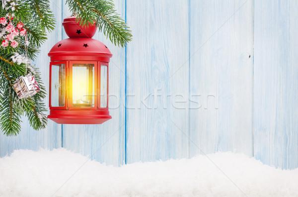 Natale candela lanterna ramo neve Foto d'archivio © karandaev