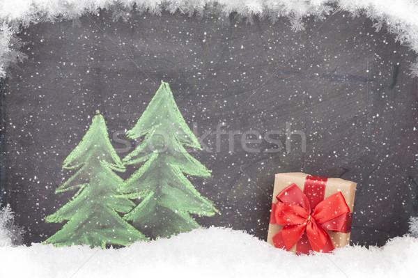 Christmas gift box and hand drawn fir tree Stock photo © karandaev