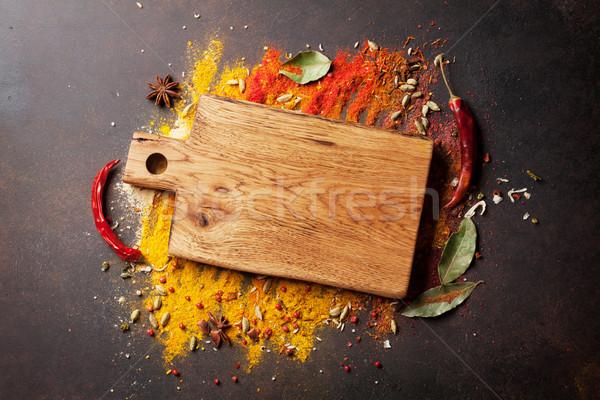 Especias tabla de cortar piedra mesa superior Foto stock © karandaev