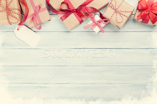 Noël bois coffrets cadeaux neige haut vue Photo stock © karandaev