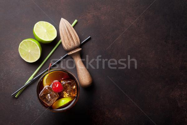 Cocktail verre haut vue espace de copie fête Photo stock © karandaev