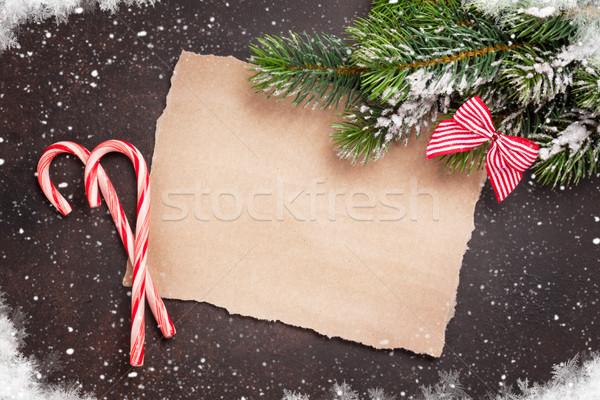 Darab papír karácsony kívánságok cukorka hó Stock fotó © karandaev