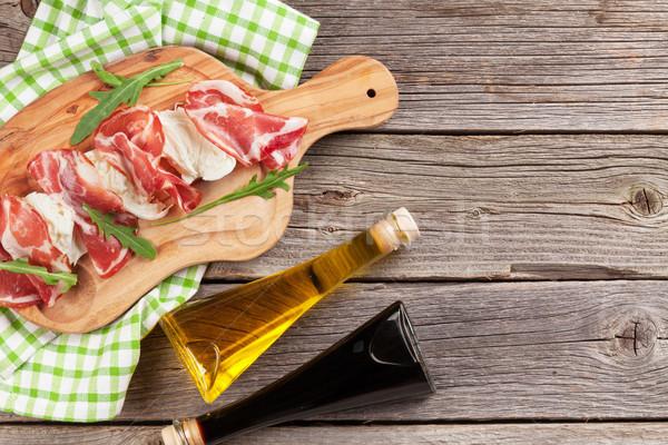 Prosciutto mozzarella fa asztal felső kilátás copy space Stock fotó © karandaev