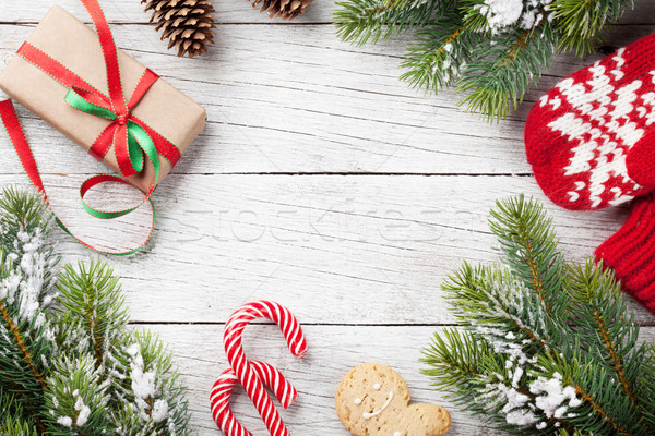 Photo stock: Noël · coffret · cadeau · bonbons · canne · gingerbread · man · neige
