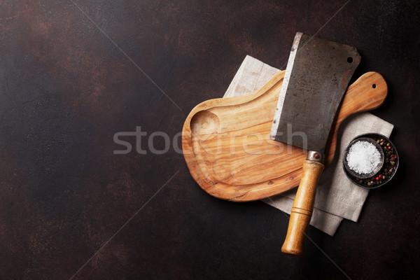 Stockfoto: Slager · vintage · vlees · mes · specerijen · steen
