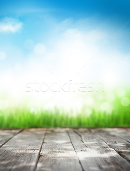 Abstract zonnige zomer houten tafel gras blauwe hemel Stockfoto © karandaev