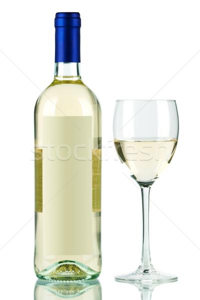 Butelki białe wino kieliszek odizolowany biały wina Zdjęcia stock © karandaev