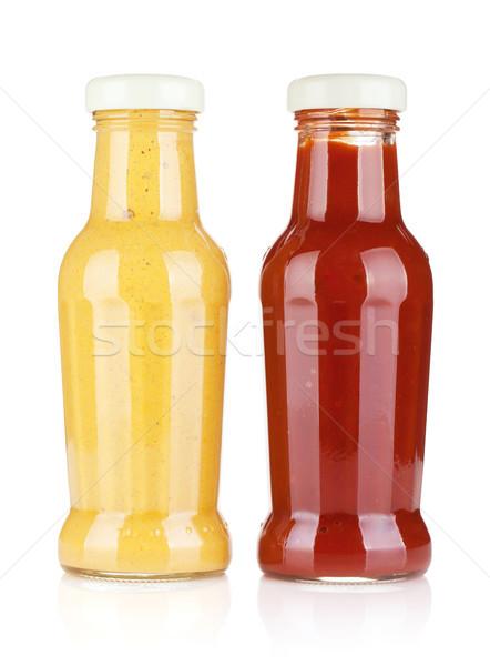Mostarda ketchup vidro garrafas isolado branco Foto stock © karandaev