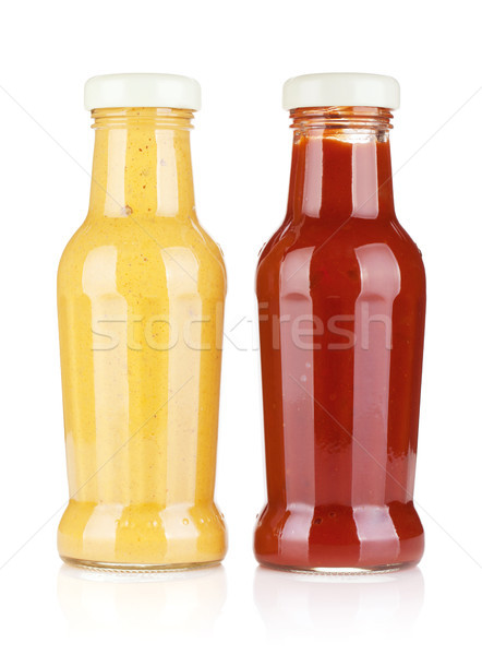 Mosterd ketchup glas flessen geïsoleerd witte Stockfoto © karandaev