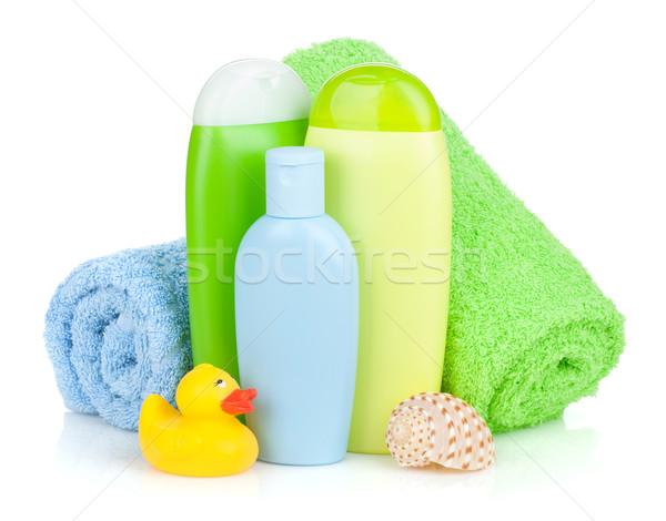 Stock fotó: Fürdőkád · üvegek · törölköző · gumi · kacsa · izolált