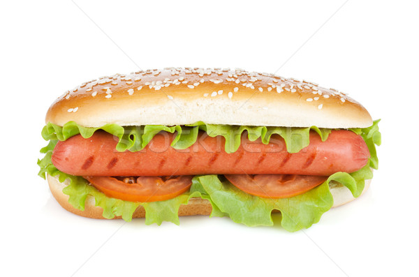 Hot dog with lettuce and tomato slices Stock photo © karandaev