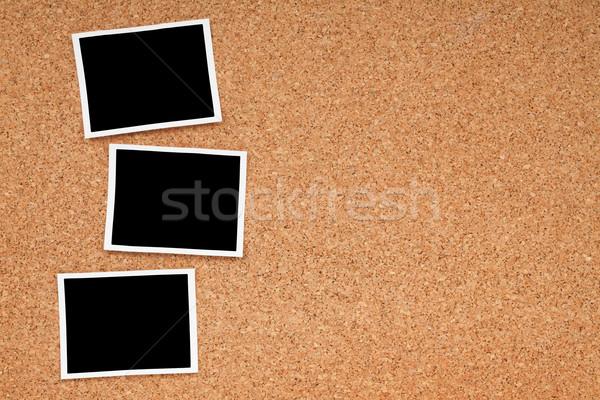 Foto stock: Polaroid · foto · marcos · corcho · textura · espacio · de · la · copia