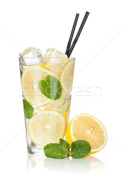 Glass of lemonade with lemon and mint Stock photo © karandaev