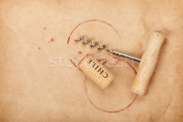 Corcho sacacorchos vino tinto papel de estraza espacio de la copia Foto stock © karandaev