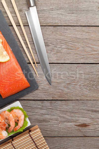 Fresh sea food and kitchen utensils Stock photo © karandaev