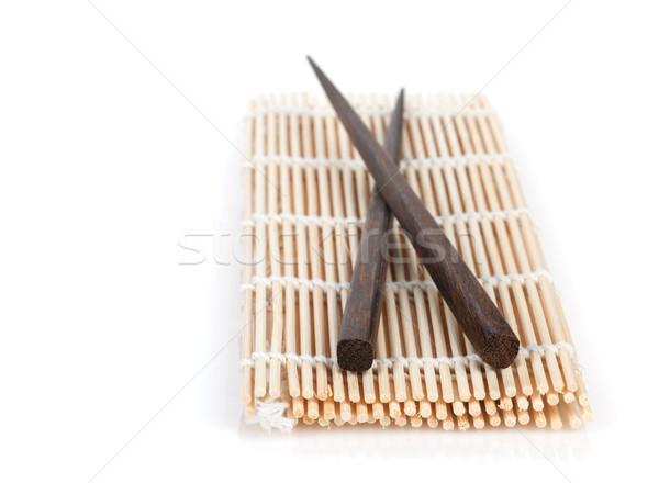 Pałeczki do jedzenia bambusa odizolowany biały żywności kuchnia Zdjęcia stock © karandaev
