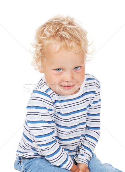 Blanche cheveux bouclés yeux bleus bébé isolé sourire Photo stock © karandaev