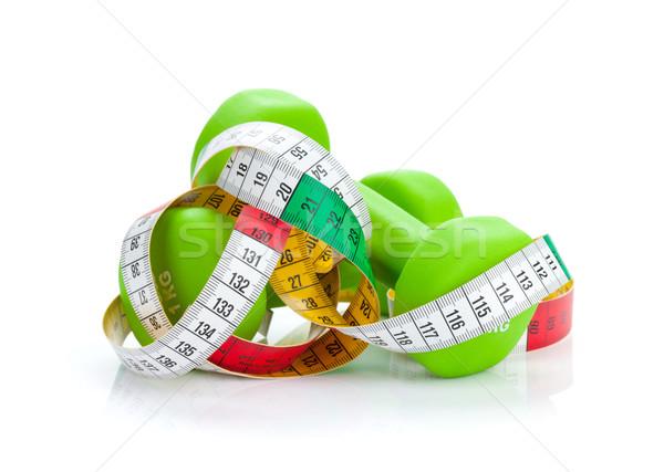 Dois verde fita métrica fitness saúde isolado Foto stock © karandaev