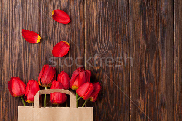 Stock photo: Red tulips bouquet