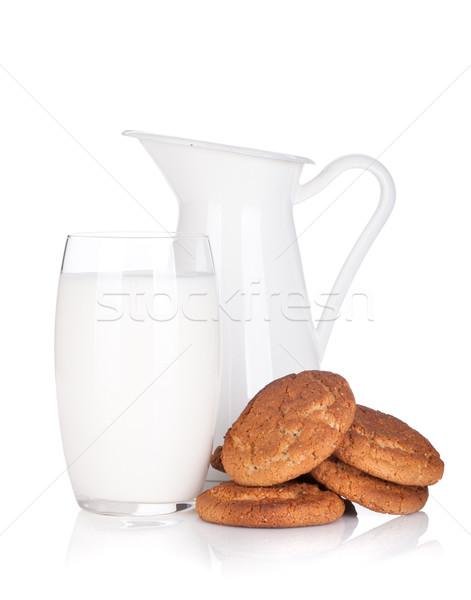 Tejesflakon üveg sütik izolált fehér desszert Stock fotó © karandaev