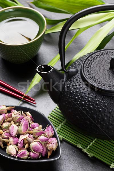 Asya gül çay demlik taş tablo Stok fotoğraf © karandaev