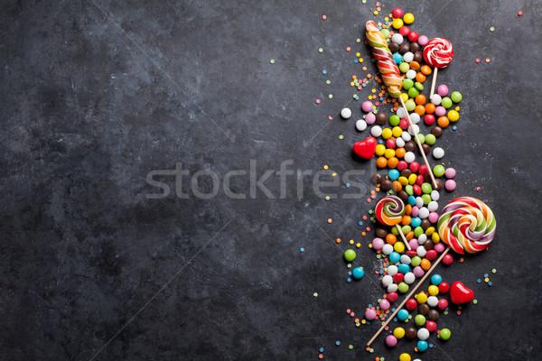Coloré bonbons pierre haut vue espace de copie Photo stock © karandaev