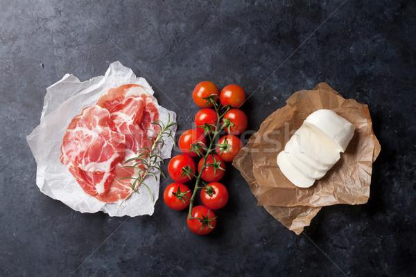 Prosciutto mozzarella tomaat steen tabel Stockfoto © karandaev