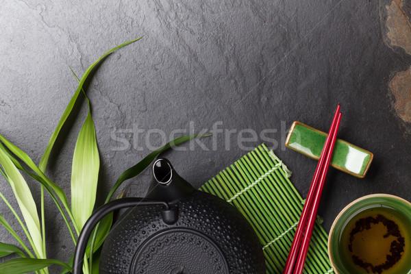 Asia té tazón tetera piedra mesa Foto stock © karandaev