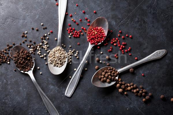 Színes borsszem piros fehér feketebors fűszer Stock fotó © karandaev