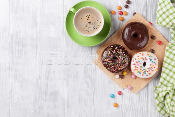Stock fotó: Fánkok · kávé · fa · asztal · felső · kilátás · copy · space