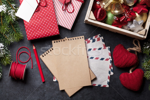Notepad for christmas letter, gift box wrapping Stock photo © karandaev