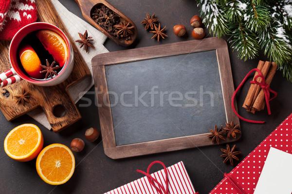 Stockfoto: Christmas · wijn · ingrediënten · top · schoolbord