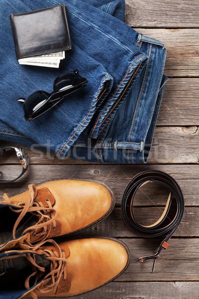 Kleidung Zubehör Jeans Schuhe Gläser Brieftasche Stock foto © karandaev