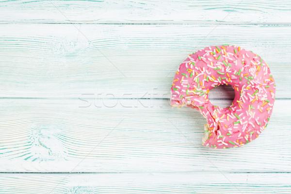 ピンク ドーナツ 甘い 木製のテーブル 先頭 表示 ストックフォト © karandaev