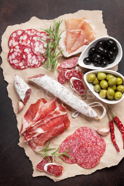 Salami, sliced ham, sausage, prosciutto Stock photo © karandaev