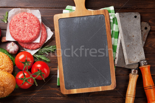 Tasty grilled home made burgers cooking Stock photo © karandaev
