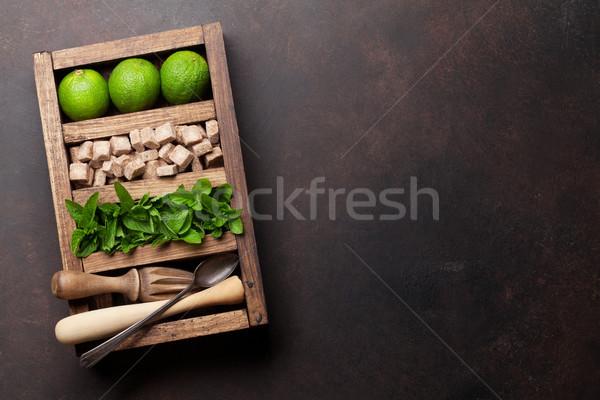 Mojito cocktail ingrediënten vak bar Stockfoto © karandaev