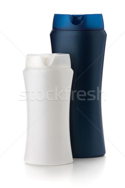 Biały niebieski szampon butelek odizolowany ciało Zdjęcia stock © karandaev