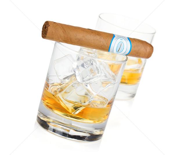 Kettő whiskey szemüveg szivar izolált fehér Stock fotó © karandaev