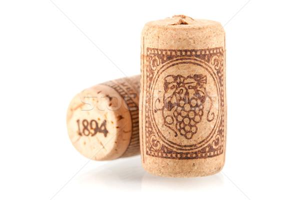 Сток-фото: два · вино · коллекция · изолированный · белый · винограда